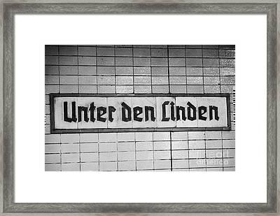 original 1930s Unter den Linden Berlin U-bahn underground railway station name plate berlin germany Framed Print by Joe Fox