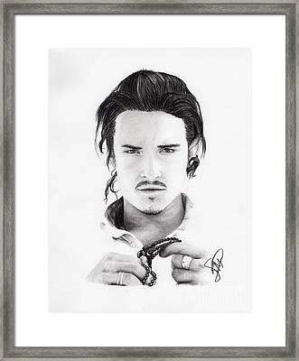 Orlando Bloom Framed Print by Rosalinda Markle