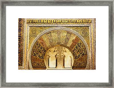 Ornate Mezquita Mihrab In Cordoba Framed Print by Artur Bogacki