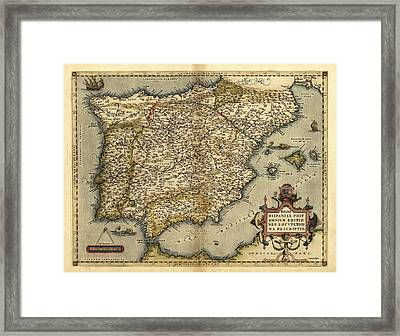 Ortelius's Map Of Iberian Peninsula, 1570 Framed Print by Library Of Congress, Geography And Map Division
