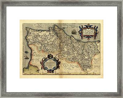 Ortelius's Map Of Portugal, 1570 Framed Print by Library Of Congress, Geography And Map Division