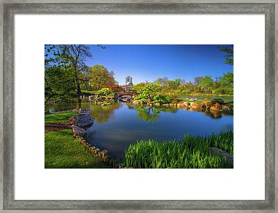 Osaka Garden Pond Framed Print by Jonah  Anderson