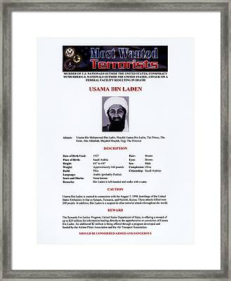 Osama Bin Laden, Militant Islamist Framed Print by Everett