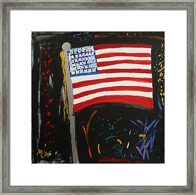 Our Flag Joins The Celebration Framed Print by Mary Carol Williams