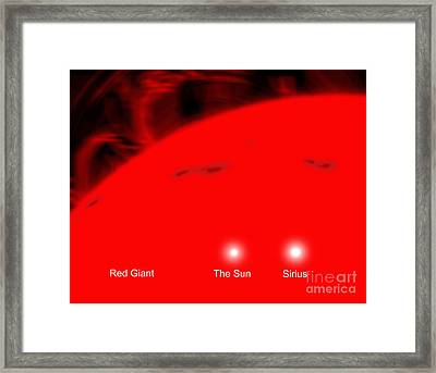 Our Sun And The Star Sirius Compared Framed Print by Ron Miller
