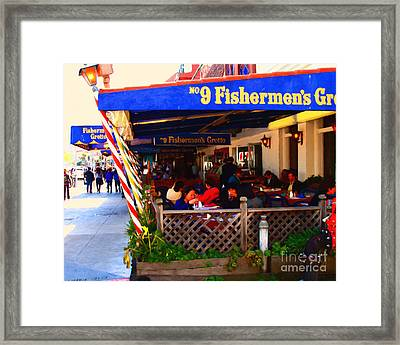 Outdoor Dining At The Fishermens Grotto Restaurant . Fisherman.s Wharf . San Francisco California Framed Print by Wingsdomain Art and Photography