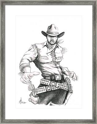 Cowboy Pencil Drawings Framed Print featuring the drawing Outlaw by Murphy Elliott