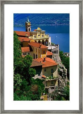 Overhead Of Sanctuary Of Madonna Del Sasso And Lago Maggiore, Locarno, Ticino, Switzerland, Europe Framed Print by Glenn Van Der Knijff