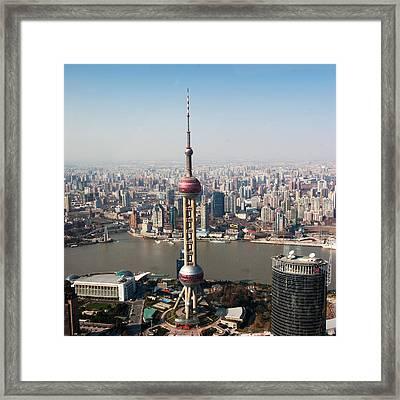 Overhead View Of Oriental Pearl Tower In Shanghai Framed Print by Roy Hsu