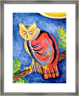 Owl With Attitude Framed Print by Joan Landry