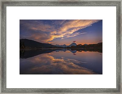 Ox Bow Bend Sunset Framed Print by Joseph Rossbach