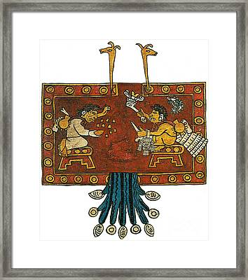 Oxomoxo And Cipactonal, Aztec Adam Framed Print by Photo Researchers