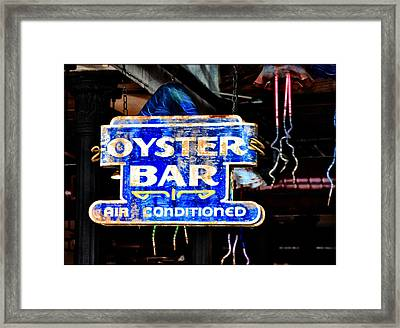 Oyster Bar Sign Framed Print by Bill Cannon