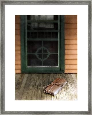 Package On Front Porch Framed Print by Jill Battaglia