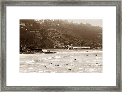 Paddling Out Framed Print by John Rizzuto