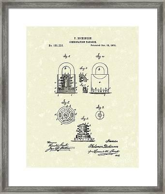 Padlock 1876 Patent Art Framed Print by Prior Art Design