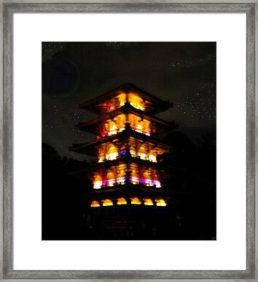 Pagoda Night Framed Print by David Lee Thompson