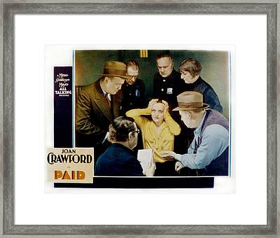 Paid, Joan Crawford Center, 1930 Framed Print by Everett