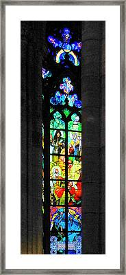 Painted Glass - Alfons Mucha  - St. Vitus Cathedral Prague Framed Print by Christine Till
