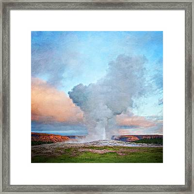 Painterly Old Faithful, Yellowstone National Park Framed Print by Trina Dopp Photography