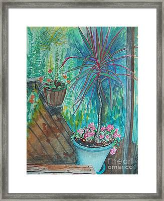 Painting Life Blooms On The Deck Framed Print by Judy Via-Wolff