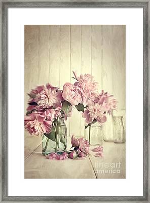 Painting Of Pink Peonies In Glass Jar/digital Painting   Framed Print by Sandra Cunningham