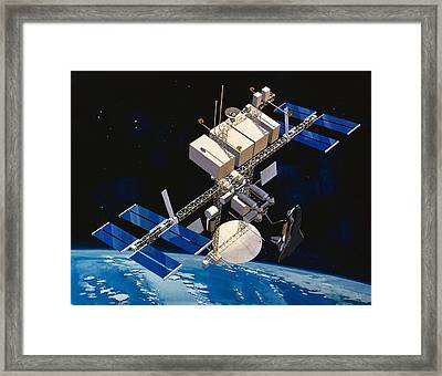 Painting Of Space Station Orbiting Earth Framed Print by Stocktrek