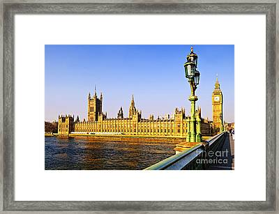 Palace Of Westminster From Bridge Framed Print by Elena Elisseeva