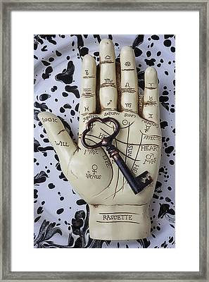 Palm Reading Hand And Key Framed Print by Garry Gay