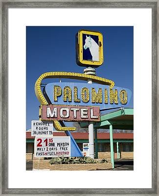 Palomino Motel Route 66 Framed Print by Carol Leigh
