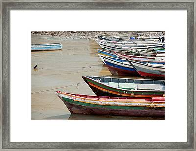Panama, Panama City, Fishing Boats On Coastline At Low Tide Framed Print by DreamPictures