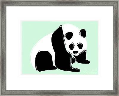 Panda On Green Framed Print by Michelle Bergersen