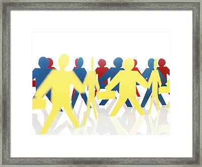 Paper Chain People Framed Print by Tek Image