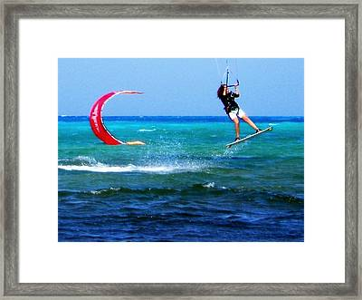 Para Surfing In Cozumel Mexico Framed Print by Danielle  Parent