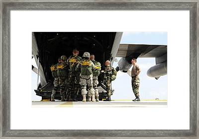 Paratroopers Gather Around The Back Framed Print by Stocktrek Images