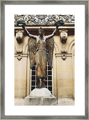 Paris Courtyard Musee Carnavalet Angel Statue - Victory Allegorical Angel Statue Framed Print by Kathy Fornal