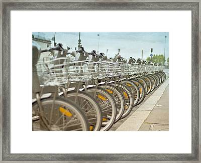 Paris Bikes Framed Print by Georgia Fowler