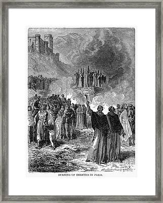 Paris: Burning Of Heretics Framed Print by Granger