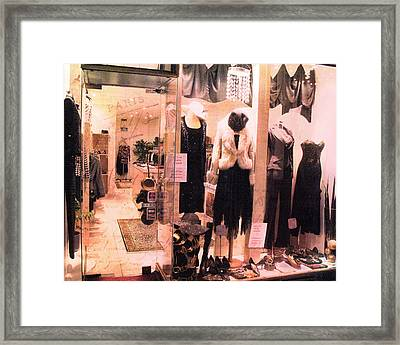 Paris Couture Dress Shop Window Fashion  Framed Print by Kathy Fornal