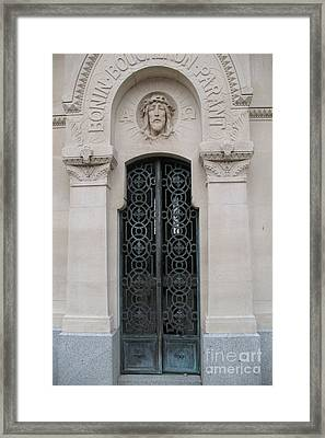 Paris Mausoleum Door With Jesus Framed Print by Kathy Fornal
