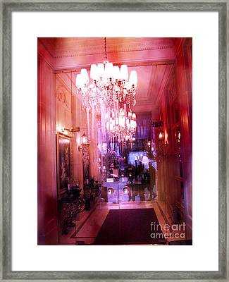 Paris Posh Pink Red Hotel Interior Chandelier Framed Print by Kathy Fornal