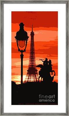 Paris Tour Eiffel Red Framed Print by Yuriy  Shevchuk