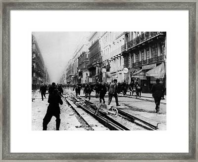 Parisians Riot Over Salary Cuts Framed Print by Everett