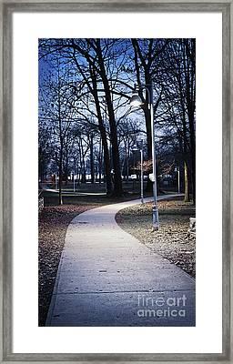 Park Path At Dusk Framed Print by Elena Elisseeva