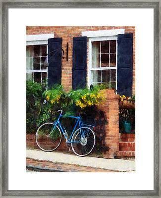 Parked Bicycle Framed Print by Susan Savad