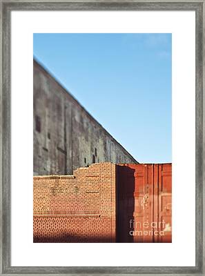 Partial Brick Wall And Doors Framed Print by Eddy Joaquim