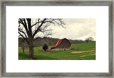 Pasture And Bar  Framed Print by Marty Koch