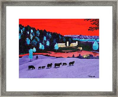 Pastures And Pond Framed Print by Randall Weidner