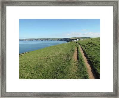 Path Along Coastline Port Isaac Cornwall Framed Print by Thepurpledoor