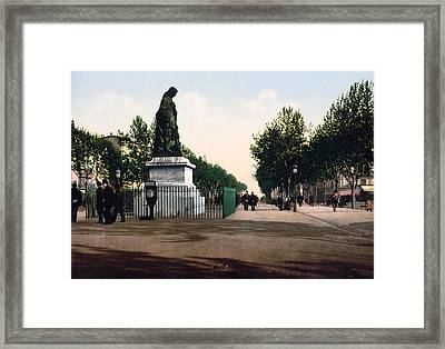 Paul Riquet Statue And The Allees In Beziers - France Framed Print by International  Images